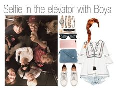Selfie in the elevator with Boys by yonce4park on Polyvore featuring polyvore fashion style Talitha H&M The Row Anne Klein Chapstick Ray-Ban clothing