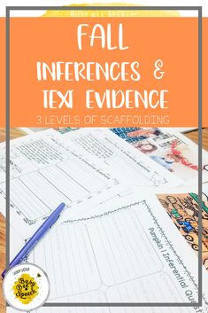 This resource contains great ideas for making inferences and using text evidence to draw conclusions. It includes 3 levels of scaffolding and both clipart and real pictures with fun fall themes!