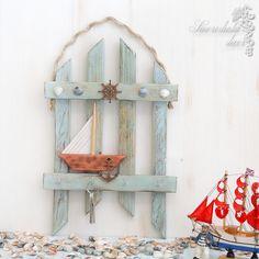 Купить Ключница Мечты о море - голубой, вешалка для ключей, вешалка-ключница, дача, для интерьера, для ключей