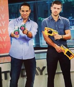 Aaron and Daniel holding guns on Today show 6/5/2013