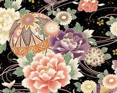 Maiko - Metallic Flower Black Satin from Cosmo Japanese Embroidery, Japanese Fabric, Asian Fabric, Machine Embroidery Thread, Etsy Fabric, Kimono Pattern, Winter Flowers, Wave Design, Japan Art