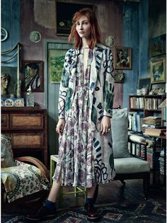 Fashion story photographed at Charleston, the former home of artists Duncan Grant and Vanessa Bell of the Bloomsbury Group. Photographed by Tom Allen and styled by Cathy Kasterine. Images from UK Harper's Bazaar November 2014 issue.