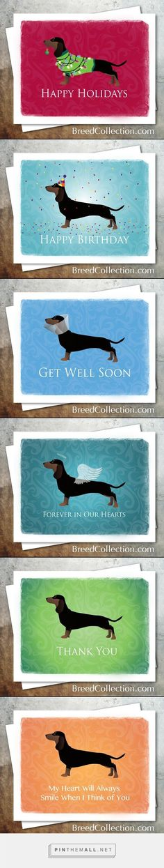 ❤ Dachshund lovers... this card collection is for you. The digital files as Avery Note Card Templates are available on Etsy! Never buy an expensive greeting card again. Just print them at home as needed.
