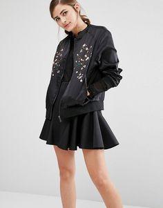 Fashion Union | Fashion Union Satin Bomber Jacket With Embroidery