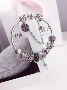 50% OFF!!! $239 Pandora Charm Bracelet Purple Blue. Hot Sale!!! SKU: CB01736…