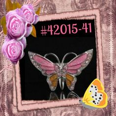 Pink Sparkle Rhinestone Crystal Alloy Charm  Butterfly Pin & Brooch #42015-41 #butterfly