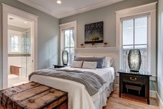 walls: rain wash sherwin williams  LEED Platinum Certified Residence - contemporary - bedroom - nashville - William Johnson Architect