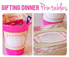 Great idea for a new mom. An already made dinner with directions and a kit for the big sister to keep her busy while the new mama is feeding the baby. The website includes links to all items to print out.