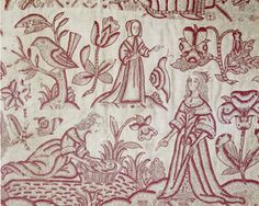 Redwork embroidery, English, 17th C.