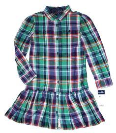 NWT Ralph Lauren Girls Polo Flannel Plaid Long Sleeves Shirt Dress 6X #RalphLauren #DressyEveryday