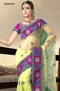 $162 Glamorous Yellow Net Saree From Cbazaar