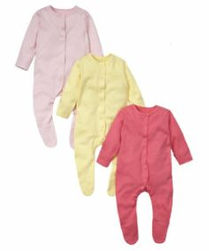 View details of Mothercare Coloured Sleepsuits- 3 Pack