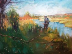 O'Dell Spring Creek, Mary Maxam, oil painting, fly fishing art, Montana landscape