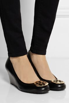529d3a2a0787 Tory Burch - Sally leather wedge pumps