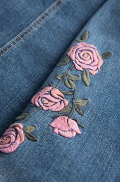ORSAY JEANS   Denim jacket with rose embroideries #mywork #fashiondesigner #denim #closeup