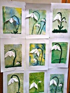 Věk: 2. třída formát A4, A3 na čtvrtku A4 si děti obyčejnou houbičkou nanesly vodové barvy- pouze žlutou a druhou stranou houbičky ...