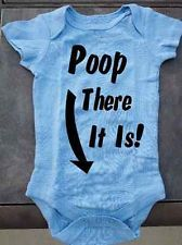 Poop There It Is! Humor Funny Baby Onesie - in Light Pink and Light Blue! Cute!