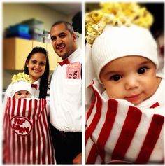 Baby popcorn costume. I got this idea from Pinterest but added a few things of my own. I picked a different popcorn logo and both my husband and I dressed as theatre workers. I also made giant ADMIT ONE tickets for his pocket. We won first place! Tons of fun and easy to make with felt and hot glue. Just pin it over your baby carrier and glue popcorn on his hat - INFANT HALLOWEEN COSTUME - FAMILY COSTUMES