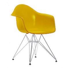 Vitra DAR Armchair by Charles & Ray Eames - 357261 - Eames Plastic Armchair DAR 34 Mustard Chrome