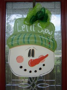 Extra Large Snowman Head Door Hanging by samthecrafter on Etsy, $35.00