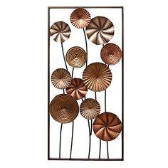 Stratton Home Decor Metallic Flower Panel I Wall Decor