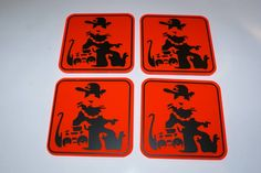 Blek le Rat / Banksy 4 x Coasters on Orange Neon Squares with Black Vinyl Graphics.. £14.95 + Delivery see www.mojo-shop.co.uk for more information
