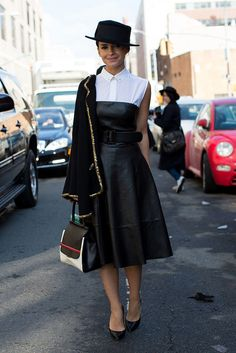 This Is It — Over 400 of The Best Looks to Hit the Streets at NYFW: Miroslava Duma gave a sweetness to her leather dress with a little white blouse, classic heels, and a structured bag. Mode Outfits, Fashion Outfits, Womens Fashion, Fashion Trends, Shirt Under Dress, Dress Shirt, Street Style New York, Outfit Trends, Inspiration Mode
