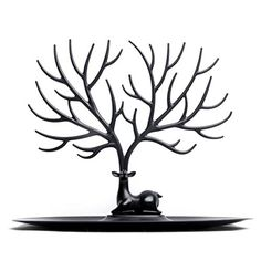 Jewelry Rack FINER Creative Sika Deer Tree ABS Plastic Jewelry Rack Display Stand Holder Organizer for Earrings Necklace Ring  Black -- Continue to the product at the image link.