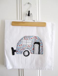 Tea Towel Appliqued Caravan Design - 100% Cotton