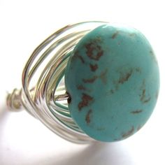 Silver Wire Wrap Ring Turquoise Unisex Fashion by gimmethatthing, £9.75