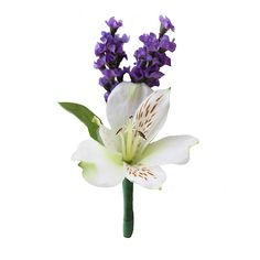 Lavender and Alstroemeria Boutonniere | Spring Wedding Flowers | Same Day Shipping