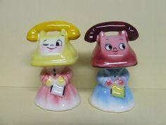 Vintage Anthropomorphic Smiley Phone Head Ladies Salt & Pepper Shakers (Japan)