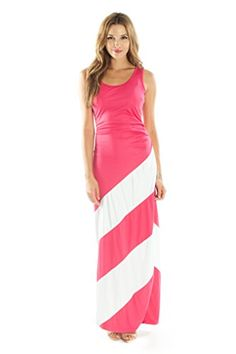Striped Maxi Dress by Ariana James (Cotton, Sleeveless, Scoop Neck) (L, Pink)