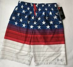 fea87748cccaa Summer Swimwear · NWT Under Armour Boys XL 18/20 Red White and Blue Stars Swim  Shorts Trunks