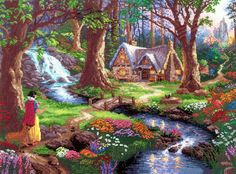 Counted Cross stitch  Amazon.com: M C G Textiles Disney Dreams Collection by Thomas Kinkade Snow White Discovers, 16-Inch by 12-Inch, 18 Count
