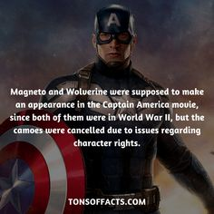 Magneto and Wolverine were supposed to make an appearance in the Captain America movie, since both of them were in World War II, but the cameos were cancelled due to issues regarding character rights.  #captainamerica #theavengers #comics #marvel #interesting #fact #facts #trivia #superheroes #memes #1