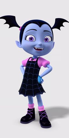 """Vampirina """"Vee"""" Hauntley is the main protagonist of Disney Junior animated series Vampirina. She is a 12-year-old vampire whose family moved from Transylvania, Romania to Pennsylvania to open a local Scare Bed n' Breakfast. Vampirina is a young vampire. She has periwinkle skin, pointy ears and fangs. Her hair is black with bat wing pigtails and has violet eyes. She dresses in a pink top and black dress with a spider web pattern, wears blue fingerless gloves, and black boots alon..."""