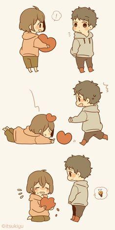 Love hurts :D Cute Chibi Couple, Love Cartoon Couple, Cute Love Cartoons, Cute Cartoon, Cute Couple Drawings, Anime Couples Drawings, Cute Anime Couples, Cute Drawings, Chibi Cat