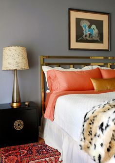 Our next DIY project is our bedroom... yup these are my colors.  Only instead of gold accents, I'm using silver/pewter    Design Crisis Erin Williamson bedroom, gray wall, brass headboard, black nightstand, coral, white, leopard