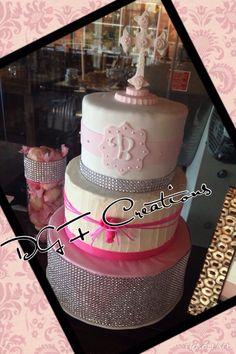 DGF Creations  #communioncake #communioncupcakes #communioncakepops #confirmationcake #confirmationcupcake #confirmationcakepop #baptismcake #baptismcakepops #baptismcupcakes #pinkandwhitecake #blingcake #confirmationcandybar #candybar #pinkcandybar