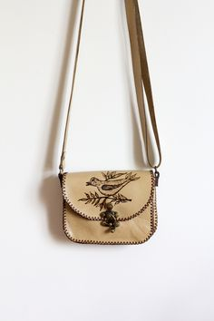 d485f5a6c3930 Çanta,Deri çanta,handmade leather bag.Bej Kus Desenli Deri Canta D1615 The