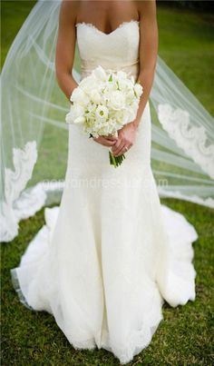 simple dress + long veil