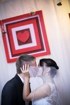 decoration above bride and groom <3 made of styrofoam and painted wedding colours