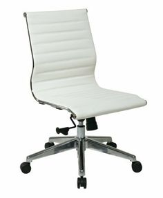 OSP Furniture Mid Back White Eco Leather Chair without Arms, Polished Aluminum Frame and Base by OSP Furniture. Save 32 Off!. $324.04. One touch pneumatic seat height adjustment. Mid back white eco leather seat and back. Heavy Duty Polished Aluminum Finish Base with Oversized Dual Wheel Carpet Casters. 2-to-1 synchro tilt control with adjustable tilt tension and tilt lock and mid pivot knee tilt. Mid Back White Eco Leather Chair without Arms, Polished Aluminum Frame and Base, pn...
