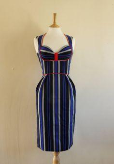 Indigo Blue Striped Wiggle Dress-£115