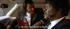 'Oh Man, I Shot Marvin In The Face (Pulp Fiction)' Photographic Print by nicknickb Pulp Fiction, Fiction Movies, Quentin Tarantino, 90s Movies, Good Movies, Funny Nicknames, Best Movie Quotes, Celebrity Stars, Epic Movie