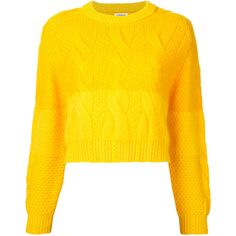 COOHEM animal gradation pullover (1 210 PLN) ❤ liked on Polyvore featuring tops, sweaters, yellow sweater, yellow pullover sweater, yellow pullover, animal top and sweater pullover