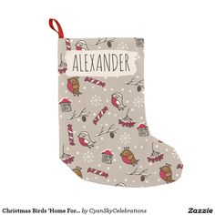 Christmas Birds 'Home For The Holidays' Personal Small Christmas Stocking @zazzle