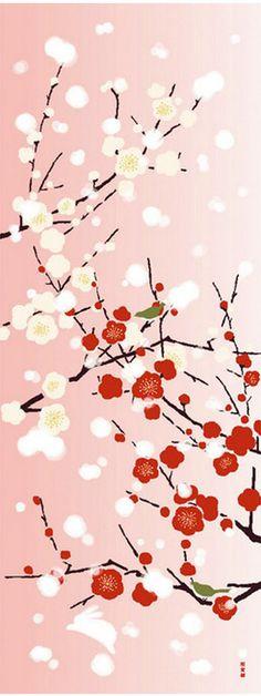 梅は新春の題材に単独でも、「松竹梅」の一つとしても人気のモチーフです。また、菅原道真が「東風吹かば匂ひおこせよ梅の花 主なしとて春な忘れそ」と歌に詠んだことから学問の神様菅原道真と太宰府の象徴とされています。受験シーズンと重なるこの時期、縁起がいいモチーフなのですね。 梅の別名は、好文木(こうぶんぼく)といい、学問の隆盛に呼応して花を咲かすとの言い伝えもあるほど、学問との繋がりが深いそうです。 描かれ方も、写実的な表現はもちろん、家紋に見られる捻梅(ねじうめ)、幾何学的に円で表現した梅鉢など様々。 「梅に鶯」という慣用句の通り鳥と一緒に花鳥画として描かれることも多い花です。