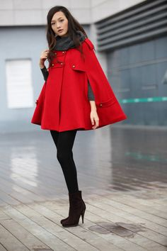 The perfect red cape.   20 off Sale RED Cape Coat Double Breasted Cape by Sophiaclothing, $99.99